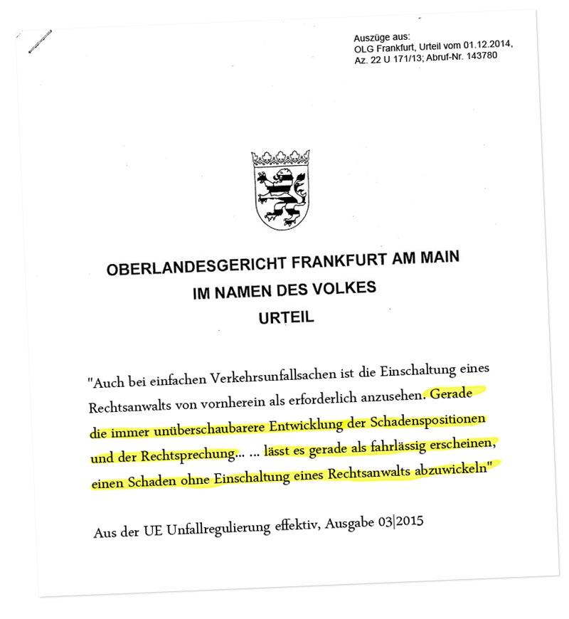OLG Frankfurt, Urteil vom 01.12.2014, Az. 22 U 171/13; Abruf-Nr. 143780
